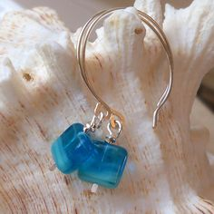 Aqua Blue Square Glass Beaded Earrings by mompotter on Etsy,