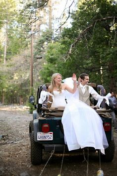 Bride & Groom In Jeep