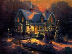 Winter: Houses Snow Splendor Christmas Lovely Night Blue Clouds Trees Beauty River Peaceful Stones Nature View Tree House Winter Snowy Bridge Landscape Beautiful Stream Time Village Water Sky Magic Lights Full Hd for HD High Definition Cabin Christmas, 3d Christmas, Christmas Pictures, Beautiful Christmas, Christmas Lights, Christmas Scenes Wallpaper, Christmas Desktop, Free Winter Wallpaper, Cottage Wallpaper