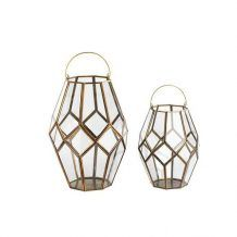 HEXAGONAL GEOMETRIC GLASS AND GOLD FRAMED HURRICANE LANTERN FOR WEDDING OR PARTY DECOR     Candleholders Archives - Hire and Style | Hire and Style