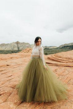 Desert Elopement Inspiration at Snow Canyon State Park, Utah Olive Green Bridesmaid Dresses, Green Wedding Dresses, Tulle Wedding, Wedding Wear, Wedding Gowns, Tulle Skirt Bridesmaid, Wedding Shit, Wedding Bells, Boho Wedding