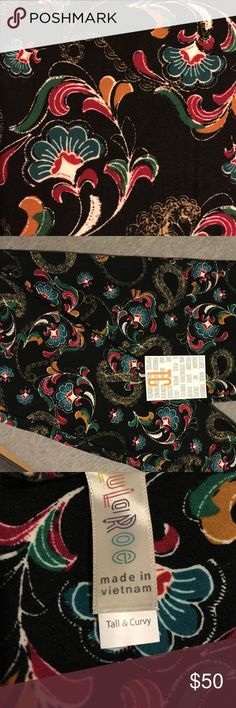 Gorgeous LLR Paisley floral TC LEGGINGS  These are so pretty. black background with beautiful paisley and florals.  TC LuLaRoe leggings NEW. NEVER WORN LuLaRoe Pants Leggings