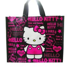 Hello Kitty PE Shopping Bag Logo Black Sanrio