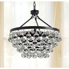 Antique Black 5-light Crystal Drop Chandelier