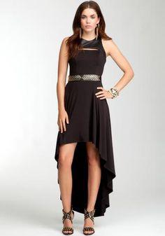 Contrast Hi-Lo Leatherette Black Maxi Dress