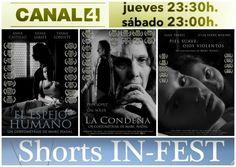 Esta noche proyectaremos por televisión tres cortometrajes! En el programa nº 20 de Shorts In-Fest en Canal4 TV de las Islas Baleares y repetición el sábado a las 23:00.   Proyectaremos: 1- El Espejo Humano 2- La Condena 3- Piel suave ojos violentos  Se puede ver en directo en este enlace:http://canal4televisio.com/canal-4-en-directo/    http://www.marcnadal.com/television-islas-baleares