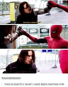 """Bucky looks so done<< everyone keeps saying he looks """"so done"""" but he's really not. He's really like """"who the hell is this kid?"""" That is not the face of a so done person. Bucky isn't used to being stopped and this face is bewilderment not """"I'm so done"""" Funny Marvel Memes, Marvel Jokes, Dc Memes, Avengers Memes, Marvel Dc Comics, Marvel Avengers, Marvel Actors, Marvel Universe, Thor"""