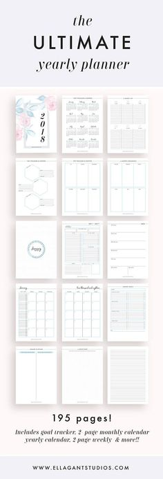 → 2018 Planner PDF (195 Pages) in sizes A4, A5, and LETTER. ❤ 2018 PLANNER → Cover Page → ID Page → 2018 at a Glance → Important Dates → Yearly Overview → Brainstorm Page → Yearly Goals → Yearly Goals Breakdown Pages → Gold Divider Pages → Monthly Overviews → Calendar Wheels → 2-