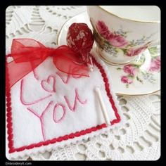 Machine Embroidered Valentine's Day Lollipop Holder | Embroidery It