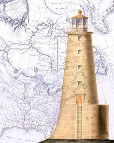 lighthouse print on vintage map