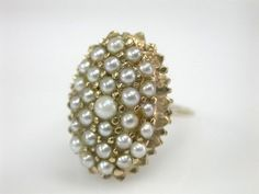 Large pearl cluster ring