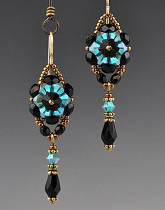 Beadwoven, Beaded, Beadwork Crystal Flower Earrings on Etsy