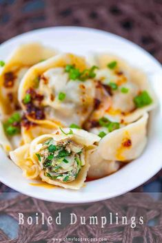 """""""Fresh homemade from scratch Chinese boiled dumplings (水餃) taste amazing with some soy sauce and chili oil or XO sauce. This boiled Chinese dumplings recipe shows you how to cook and make boiled dumplings. Homemade Dumplings, Homemade Ramen, How To Cook Dumplings, Chinese Dumplings, Cooking Dumplings, Cooked Cabbage, Napa Cabbage, Hamburgers, Asian Food Recipes"""