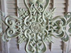 Mint Green / Ornate Cross / Mantel Decor/ by RusticPrairieCottage