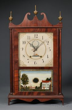 Mahogany Veneer Pillar and Scroll Shelf Clock, Bishop & Bradley, Watertown, Connecticut, c. 1823-30, the painted and gilt wooden dial showing a beehive, above the eglomise tablet showing buildings in a landscape, (imperfections), ht. with finial 31 in.