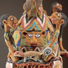 Crown, detail, Yoruba peoples, Ekiti region, Ikere, Nigeria, Early 20th century, Glass beads, cloth, plant fiber, iro
