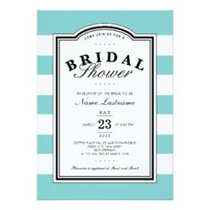 Bridal Shower Invitations - Shower the bride - invite friends and family with these gorgeous bridal shower invitations! Aqua White Striped Bridal Shower Invite