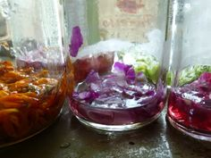 You can create with petals, boiling water, and a few drops of rubbing alcohol. Let the jars sit overnight and you're ready to get creating! Flower Petals, Diy Flowers, Ink In Water, Rubbing Alcohol, Permaculture, Punch Bowls, Diy Crafts, Crafty, How To Make