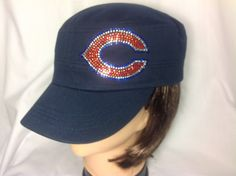 Rhinestone Chicago Bears Military Hat Cap by MsBlingHats on Etsy, $24.00