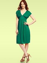 Solid gather-sleeve dress. $59.95