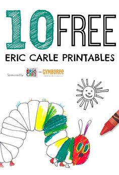 10 free Eric Carle coloring printables from Gymboree including the Very Hungry Caterpillar and Brown Bear. Includes link to Eric Carle free app. The Very Hungry Caterpillar Activities, Hungry Caterpillar Party, Caterpillar Book, Eric Carle, Agnus Day, Toddler Activities, Activities For Kids, Album Jeunesse, Author Studies