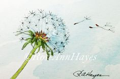 Dandelion Watercolor Painting Print Wildflower by RoseAnnHayes