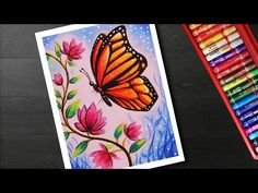 How to draw Easy Butterfly and Flower Scenery drawing and painting - YouTube