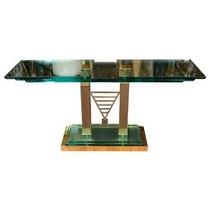 Italian Mid Century Console Table in Clear Glass and Brass
