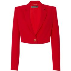 Cropped Silk Jacket   Moda Operandi ($2,150) ❤ liked on Polyvore featuring outerwear, jackets, blazers, red jacket, cropped blazer jacket, crew jacket, red cropped jacket and j.crew blazer