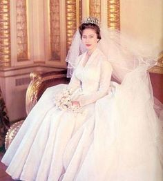Princess Margaret of the United Kingdom   Dress was designed by Norman Hartnell  Married: 6 May 1960 at Westminster Abbey