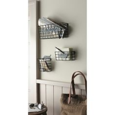 Metal Wall Holder Set - Silver