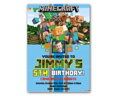 MinePlayCraft Teal Colorful Kids Birthday Invitation Party Design – Uinvites