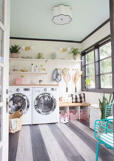 Love these floors so much!  Dream Laundry / Mud Room with #TarkettHome