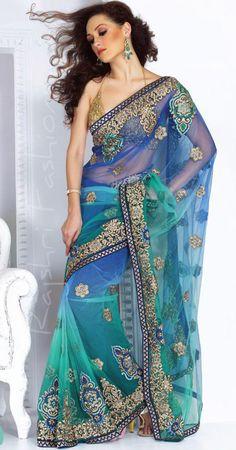 Gorgeous Blue Net Saree