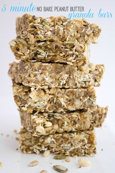 No bake granola bars are the easiest way to a good breakfast. Grab them while you run out the door and start the day with a healthy snack