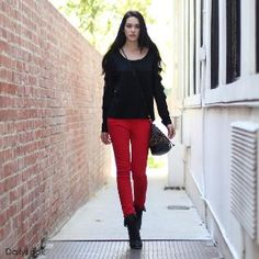 Black Cut Out Sweater + Red Skinny Jeans + Black...