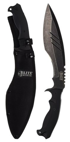 Master Cutlery Elite Tactical 15-Inch Kukri Stonewash Machete Knife Blade with G10 Handle, Black