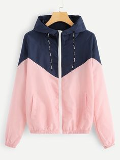Cut Sew Zip Up Hooded Jacket 2019 Spring Autumn Streetwear Women Coats Jackets Young Pink Drawstring Women Jacket Pink Windbreaker Jacket, Hooded Jacket, Hooded Coats, Womens Windbreaker, Vintage Street Fashion, Coats For Women, Nike Jackets For Women, Clothes For Women, Rain Jacket