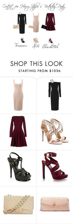 """Outfit for Harry Styles´s Party"" by ghappyg on Polyvore featuring Victoria Beckham, David Koma, Alaïa, Aquazzura, Yves Saint Laurent, Chanel and Dolce&Gabbana"