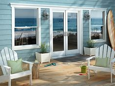 Our very own custom vinyl single-hung windows and double entry door gives you the beautiful views of Oahu you've always wanted. We even have sliding patio doors in stock, installed within 2 weeks! We special in vinyl windows and doors in Hawaii Double Patio Doors, Hinged Patio Doors, Double Hung Windows, French Doors Patio, French Patio, House Windows, Windows And Doors, Vinyl Windows, Replacement Patio Doors