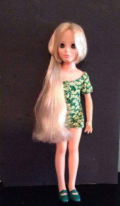"18"" Vintage Ideal Crissy Kerry Doll in Original Elephant Green Jumper Shoes #Ideal #DollswithClothing"