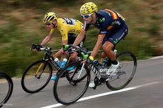Chris Froome of Great Britain riding for Team Sky in the overall race leader yellow jersey and Alejandro Valverde of Spain riding for Movistar Team descend the Col de la Croix de Bauzon during stage 15 of the 2015 Tour de France from Mende to Valence on July 19, 2015 in La Souche, France. #TDF2015 #rm_112