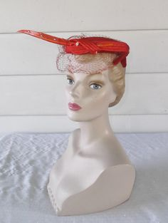 1950s Vintage Red Cocktail Hat with Red by MyVintageHatShop