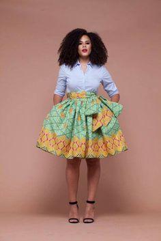 African Print Nsaga Midi Skirt
