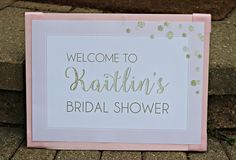 Pink / Gold Bridal / Wedding Shower Welcome Sign.  11x17, professionally printed.  Customizable. by CharmingTouchParties on Etsy