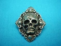 Skull Button Victorian Mourning Style Small by CenterOfTheCircle