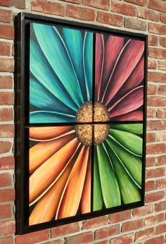 "DaisyQuad VI 36"" x 43"" (four 16 x 20 canvases). Acrylic/Mixed Media ArtPrize 2014 Entry-Displayed at West Coast Coffee, Grand Rapids, MI. www.internalbloom.com denise@internalbloom.com"