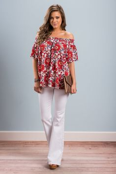 """""""At Attention Top, Red"""" This top totally has our attention! It's gorgeous floral print and trendy cut make it a no brainer!  #newarrivals #shopthemint"""