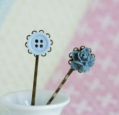 Blue Bobby Pins Hair Pins Antique Brass With by JacarandaDesigns, $9.00
