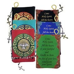Come Holy Spirit Pouch*Available in Black, Red or Blue Celebrate the power of the Third Person of the Holy Trinity with this lovely tapestry pouch with secure zipper. It's perfect for your special Catholic rosary, a chaplet, prayer card or o Catholic Confirmation, Rosary Catholic, The Third Person, Prayer Cards, Get Directions, Keepsakes, Holy Spirit, Kindle, Fill